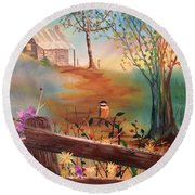 Round Beach Towel featuring the painting Beyond The Gate by Denise Tomasura