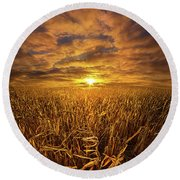 Beyond The Harvest Round Beach Towel by Phil Koch