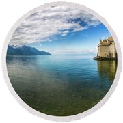 Beyond The Lake Round Beach Towel by Giuseppe Torre