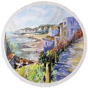Round Beach Towel featuring the painting Beyond The Point by Rae Andrews