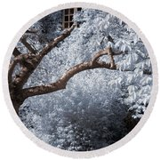 Round Beach Towel featuring the photograph Beyond The Silver Tunnel by Helga Novelli