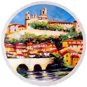 Beziers Reflections Round Beach Towel