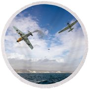 Round Beach Towel featuring the photograph Bf109 Down In The Channel by Gary Eason