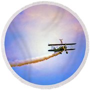 Bi-plane And Wing Walker Round Beach Towel