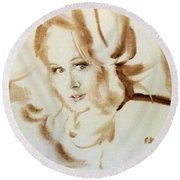 Round Beach Towel featuring the painting Bibi From Bordeaux by Ed Heaton