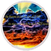 Round Beach Towel featuring the photograph Biblical Electrified Cumulus Clouds Skyscape - Psalm 19 1 by Shelley Neff