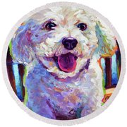 Round Beach Towel featuring the painting Bichon Frise by Robert Phelps