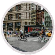 Bicycle Ballet  Round Beach Towel