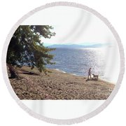 Round Beach Towel featuring the photograph Bicycle Boy And Dog by Felipe Adan Lerma