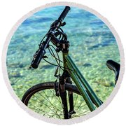 Bicycle By The Adriatic, Rovinj, Istria, Croatia Round Beach Towel