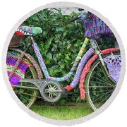 Bicycle In Knitted Sweater Round Beach Towel