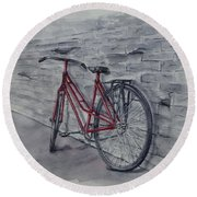 Bicycle In Red Round Beach Towel