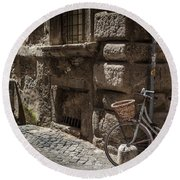 Bicycle In Rome, Italy Round Beach Towel