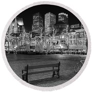 Bicycle On The Plein At Night - The Hague  Round Beach Towel