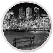 Round Beach Towel featuring the photograph Bicycle On The Plein At Night - The Hague  by Barry O Carroll