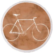 Bicycle On Tile Round Beach Towel by Dan Sproul