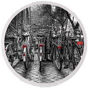 Bicycle Park Round Beach Towel