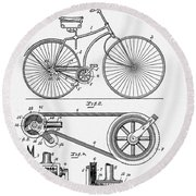 Bicycle Patent 1890 Round Beach Towel