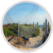 Round Beach Towel featuring the photograph Bicycle Rest by Madeline Ellis