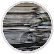 Bicycle Rider Abstract Round Beach Towel