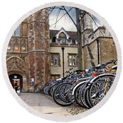 Bicycles At Trinity College Cambridge Round Beach Towel by Gill Billington