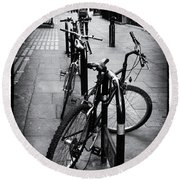 Bicycles In A London Street Round Beach Towel