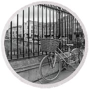 Round Beach Towel featuring the photograph Bicycles On Magdalene Bridge Cambridge In Black And White by Gill Billington