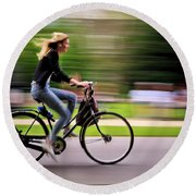 Round Beach Towel featuring the photograph Bicycling Woman by Craig J Satterlee