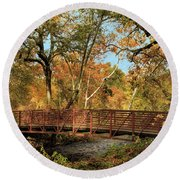 Round Beach Towel featuring the photograph Bidwell Park Bridge In Chico by James Eddy