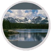 Bierstadt Lake Hallett And Otis Peaks Rocky  Mountain National Park Round Beach Towel