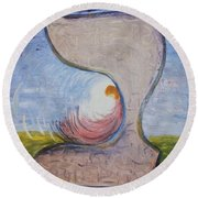 Biet - Meditation In Oil Round Beach Towel