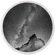 Round Beach Towel featuring the photograph Big And Bright In Black And White by Stephen Stookey