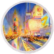 Big Apple Evening, No. 2 Round Beach Towel by Virgil Carter