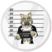 Round Beach Towel featuring the digital art Big Bad Wolf Mugshot by Methune Hively