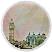 Big Ben Against A Watercolor Sky Round Beach Towel