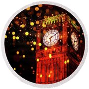 Big Ben Aglow Round Beach Towel
