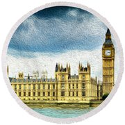 Big Ben And Houses Of Parliament With Thames River Round Beach Towel