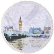 Big Ben And Westminster Bridge London England Round Beach Towel