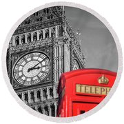 Big Ben Round Beach Towel by Delphimages Photo Creations
