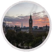 Big Ben London Sunrise Round Beach Towel by Mike Reid
