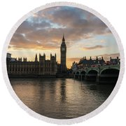 Big Ben London Sunset Round Beach Towel by Mike Reid