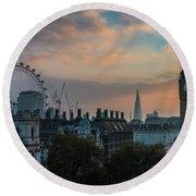 Big Ben Shard And London Eye Sunrise Round Beach Towel by Mike Reid