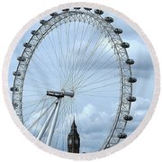 Big Ben Through The London Eye Round Beach Towel