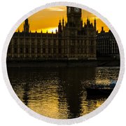 Big Ben Tower Golden Hour In London Round Beach Towel