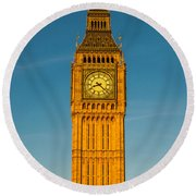 Big Ben Tower Golden Hour London Round Beach Towel