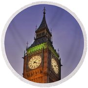 Round Beach Towel featuring the photograph Big Ben Twilight In London by Terri Waters