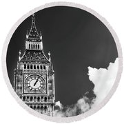 Big Ben With Cloud Round Beach Towel