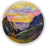 Round Beach Towel featuring the painting Big Bend Texas Window Trail Sunset by Carlin Blahnik CarlinArtWatercolor