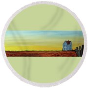 Round Beach Towel featuring the painting Big Blue House by Jack G Brauer
