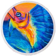 Big Blue Round Beach Towel by Stephen Anderson